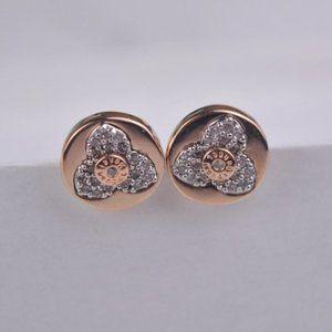 Henri Bendel 3 Petal Zircon Rose Gold Earrings